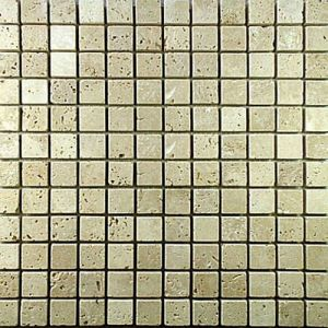 Mosaico travertino regolare mix crema mm. 23 x 23 x 8