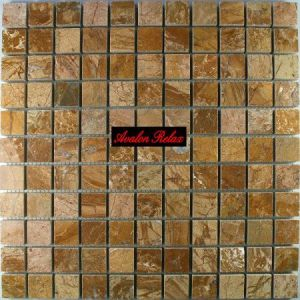 Stock 3 fogli mosaico travertino regolare mix oro mm. 25 x 25 x 10